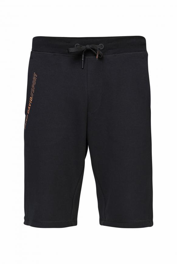 Sweatshorts mit Pikee-Einsätzen und Logo black