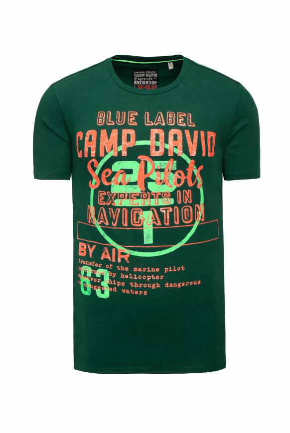 T-Shirt aus Flammgarn mit Label Print green sea