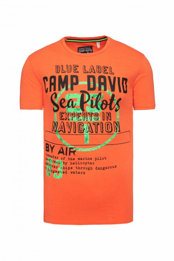 T-Shirt aus Flammgarn mit Label Print signal orange