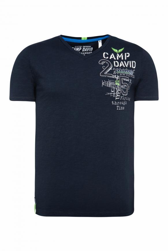 T-Shirt aus Flammgarn mit Rücken-Artwork blue navy