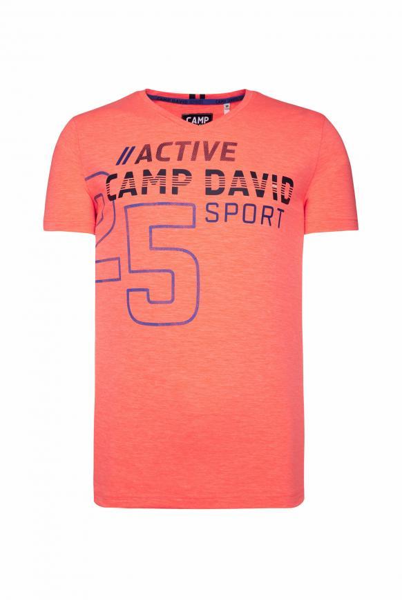 T-Shirt aus Flammgarn mit V-Neck und Print neon fire