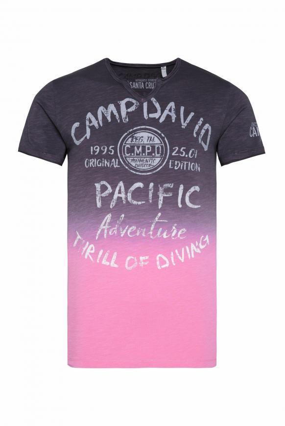 T-Shirt Dip Dye mit Prints und Used-Optik anthra / new pink