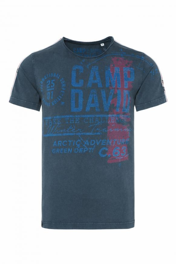 T-Shirt im Vintage Look mit Label Print deep sea