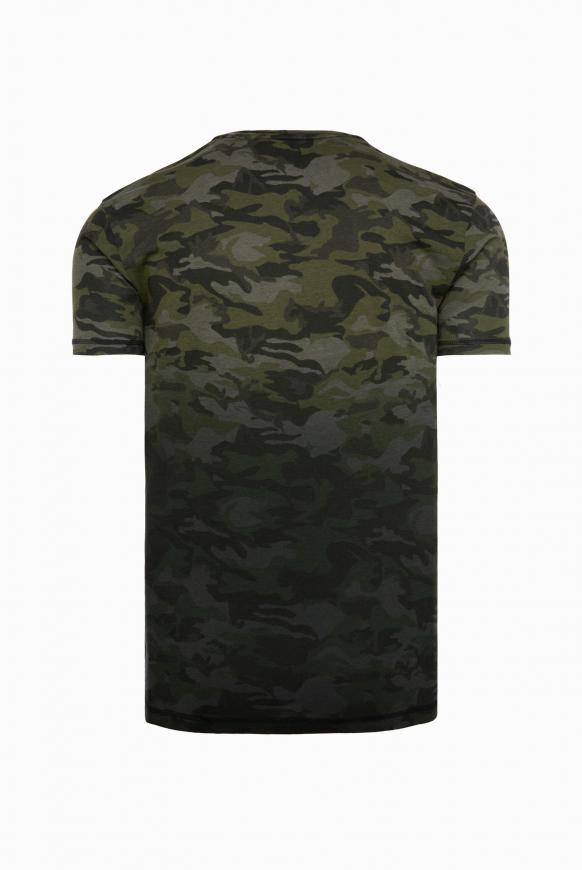 T-Shirt mit All Over Print gradient olive camou