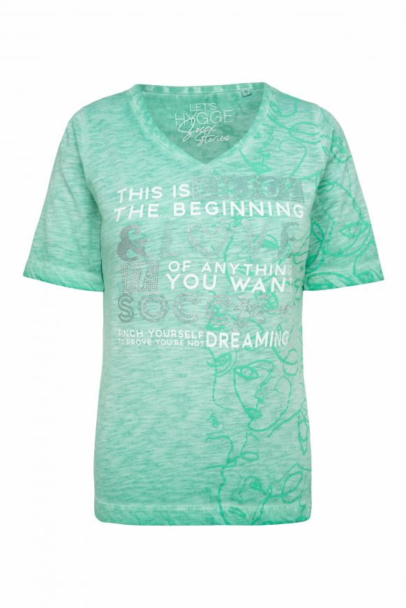 T-Shirt mit All Over Print und Artwork frosty mint