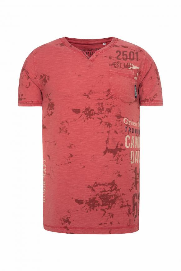 T-Shirt mit All Over Print und Used-Optik redwood