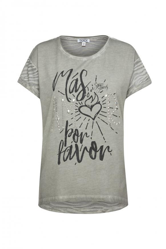 T-Shirt mit Artwork und Ausbrenner-Muster mellow olive