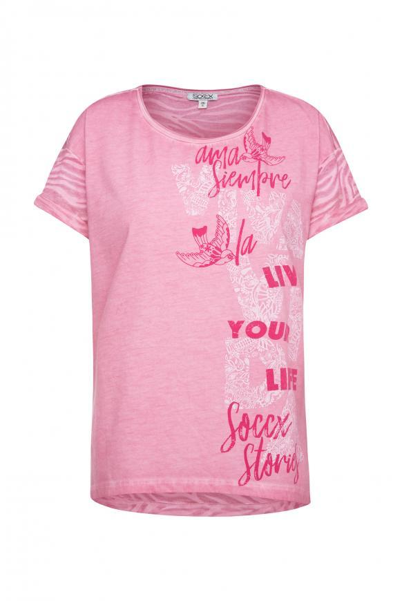 T-Shirt mit Artwork und Ausbrenner-Muster sugar rose