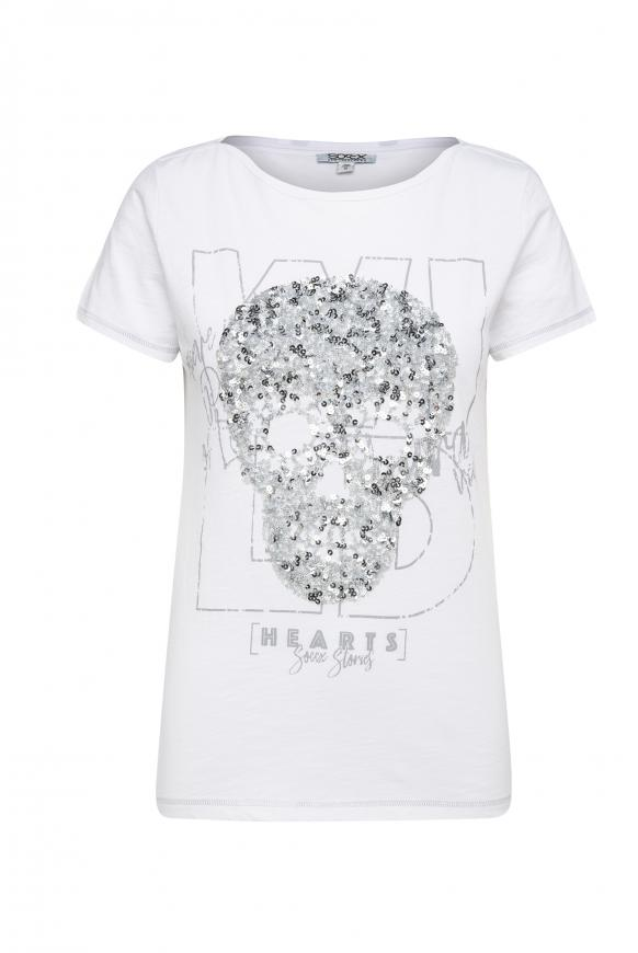 T-Shirt mit Artwork und Glitzernähten opticwhite