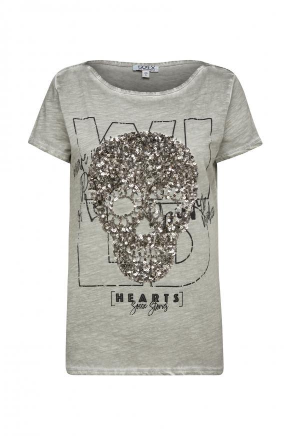 T-Shirt mit Artwork und Glitzernähten mellow olive