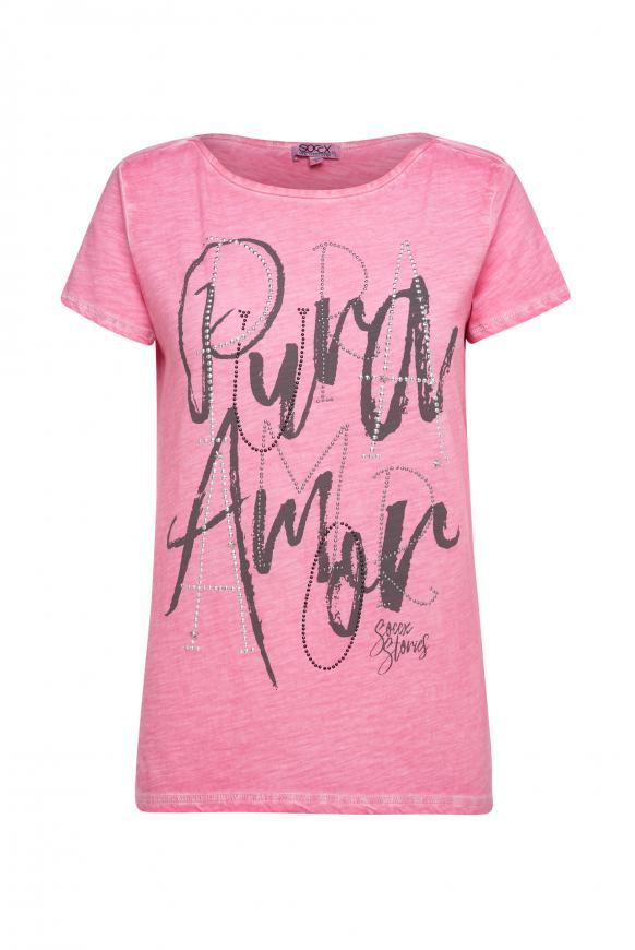 T-Shirt mit Artwork und Glitzernähten sugar rose