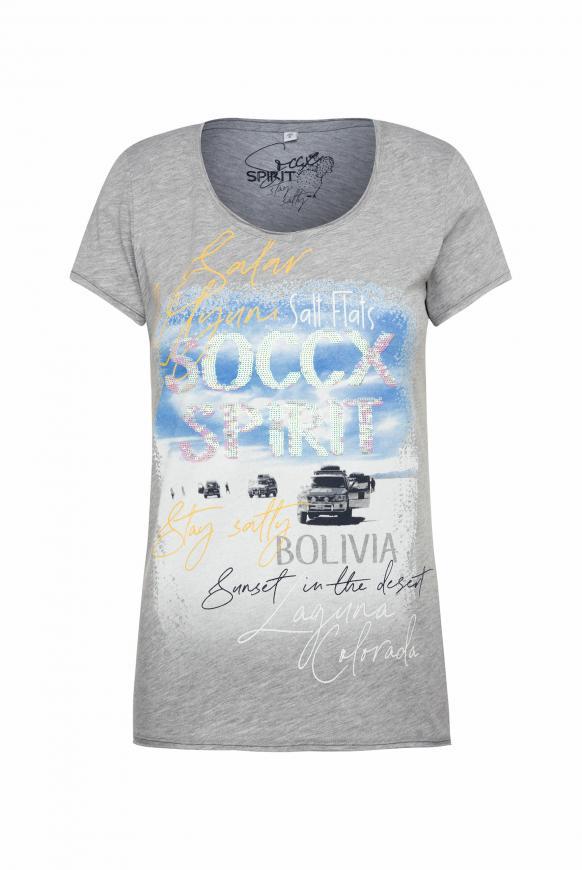 T-Shirt mit Artwork und Used-Kanten grey melange