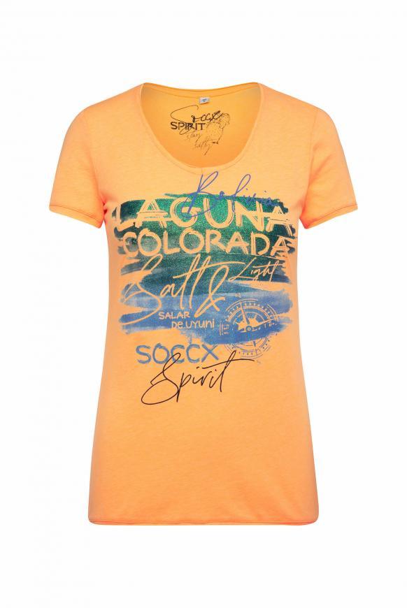 T-Shirt mit Artwork und Used-Kanten sunrise neon