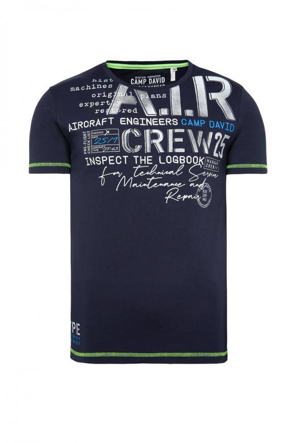 T-Shirt mit Artworks und Kontrastnähten blue navy
