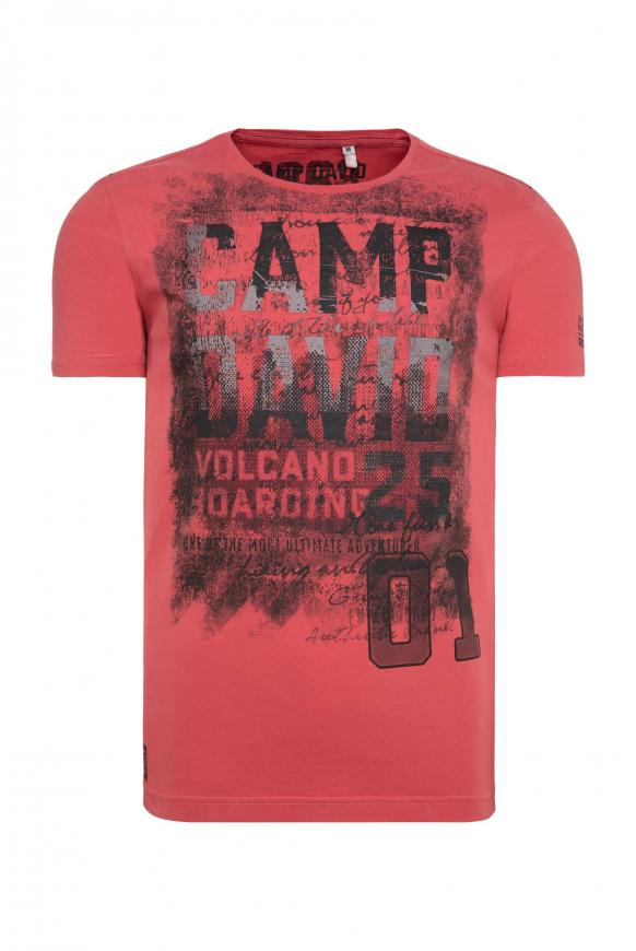 T-Shirt mit auffälligen Logo Prints powder red