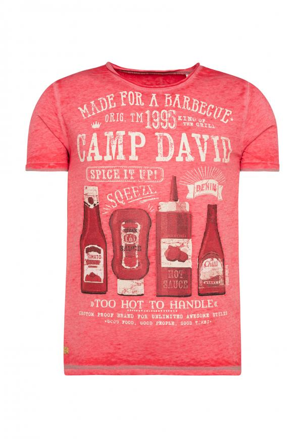 T-Shirt mit Ausbrennern und Used Print fire red
