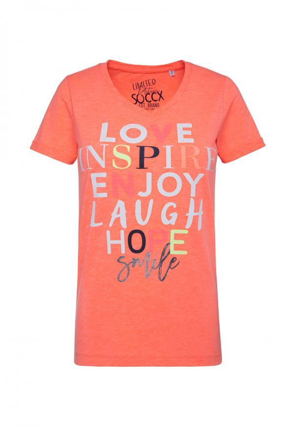 T-Shirt mit buntem Schriftzug neon orange