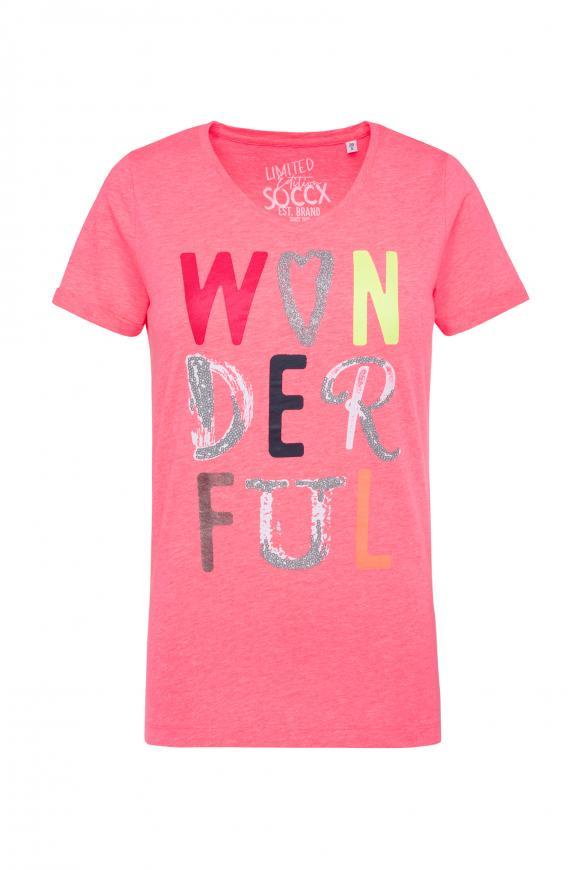 T-Shirt mit buntem Schriftzug neon rosa