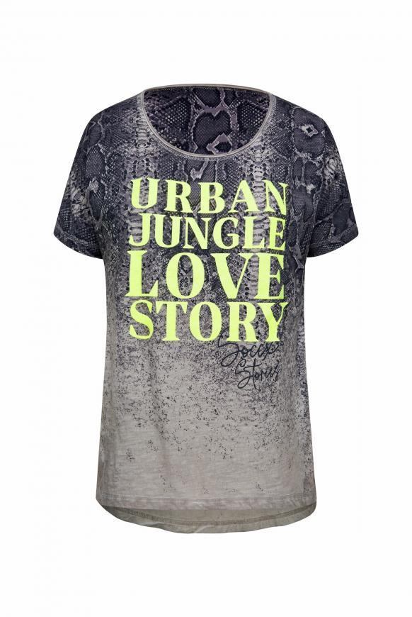 T-Shirt mit Cut Outs und Caviar Print light grey