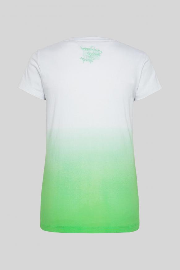 T-Shirt mit Dip-Dye-Effekt und Frontprint lemon drop