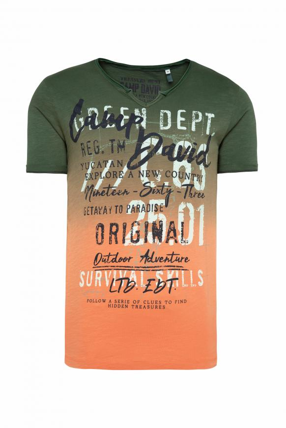 T-Shirt mit Farbverlauf und Label Prints jungle green