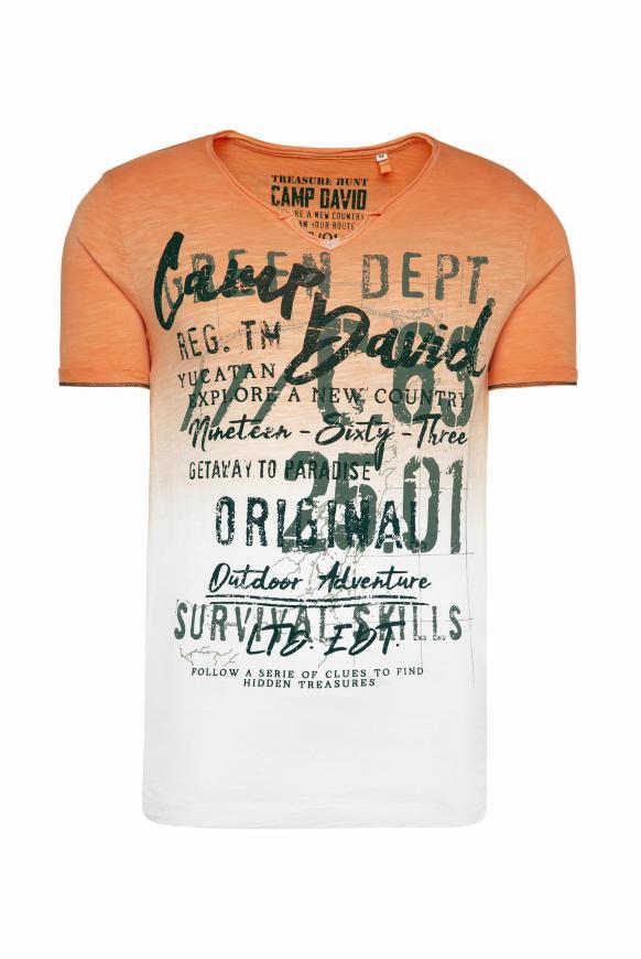 T-Shirt mit Farbverlauf und Label Prints sunstone