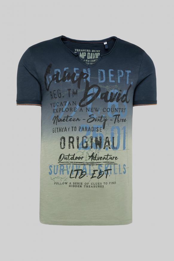 T-Shirt mit Farbverlauf und Label Prints deep sea
