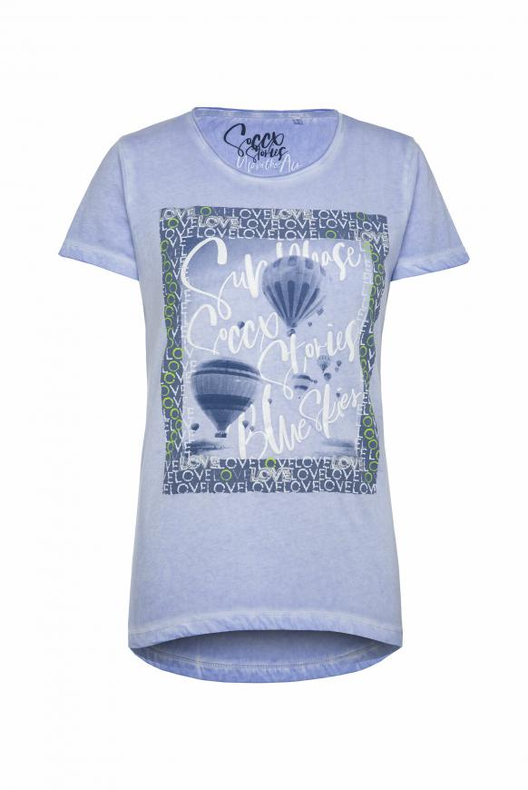 T-Shirt mit Glitter Artwork soft sky