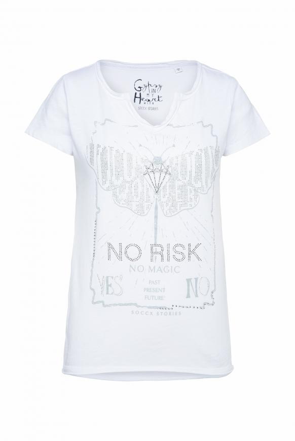 T-Shirt mit Glitzerstein-Artwork opticwhite