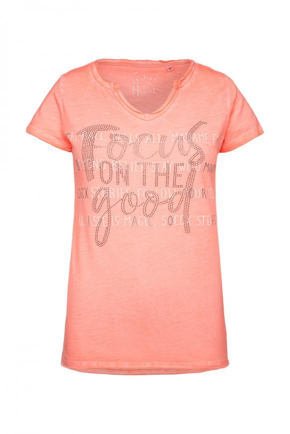 T-Shirt mit Glitzerstein-Artwork orange glow
