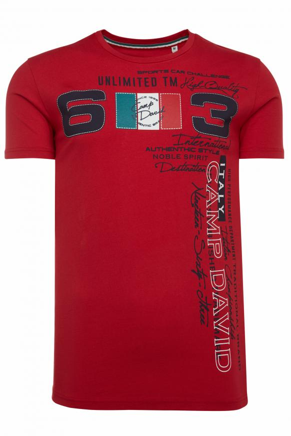 T-Shirt mit großem Frontprint racing red