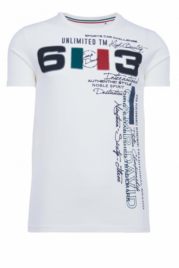 T-Shirt mit großem Frontprint ivory