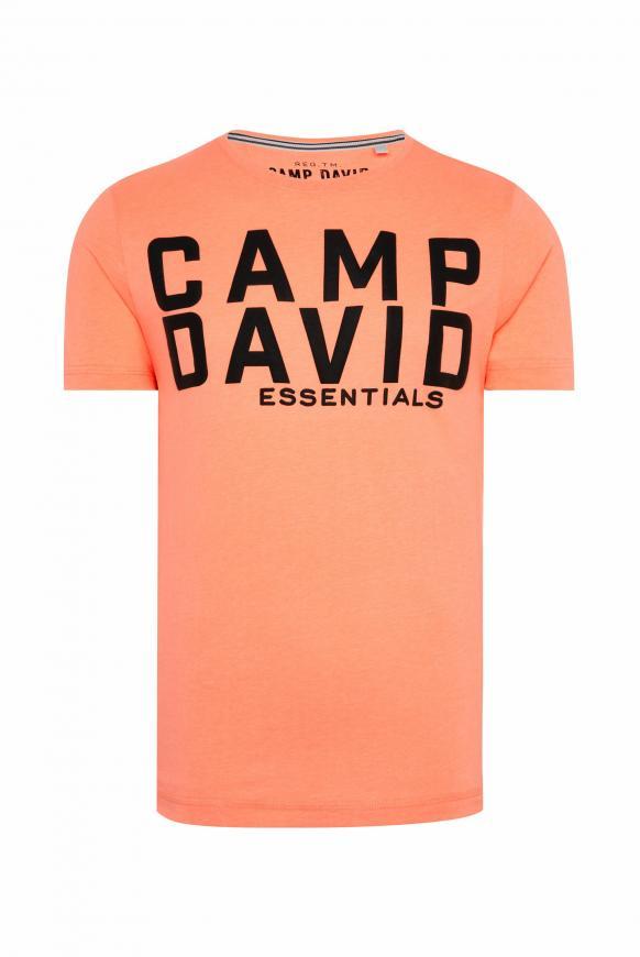 T-Shirt mit großem Logo Puff Print neon orange