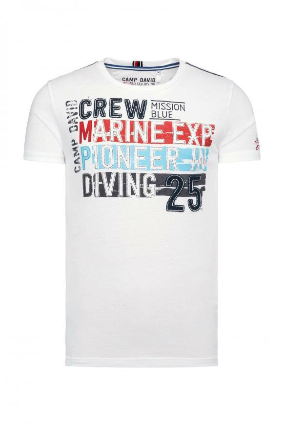 T-Shirt mit großen Label-Applikationen ivory