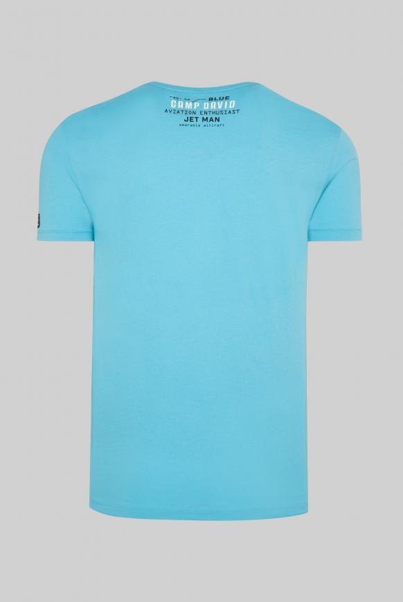 T-Shirt mit Label-Applikationen diving blue