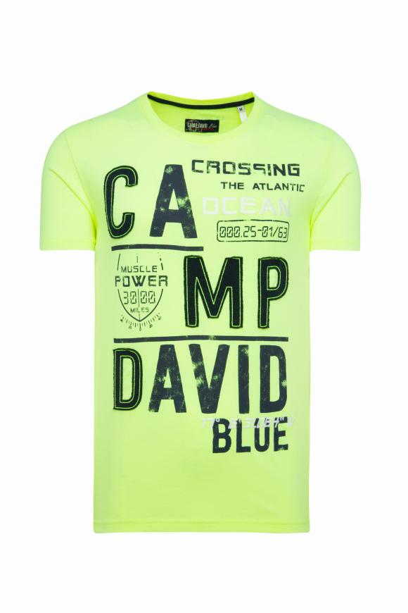 T-Shirt mit Logo-Applikationen neon lime