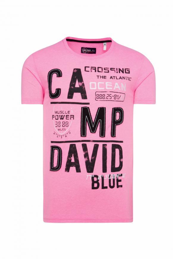 T-Shirt mit Logo-Applikationen neon pink