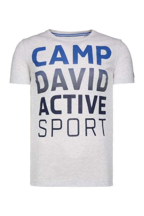 T-Shirt mit Logo Artwork white melange