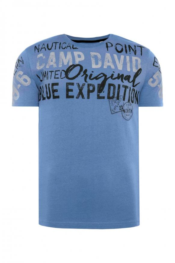 T-Shirt mit Logo Artwork in Used-Optik sky blue