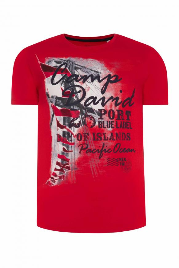 T-Shirt mit maritimen Photoprint speed red