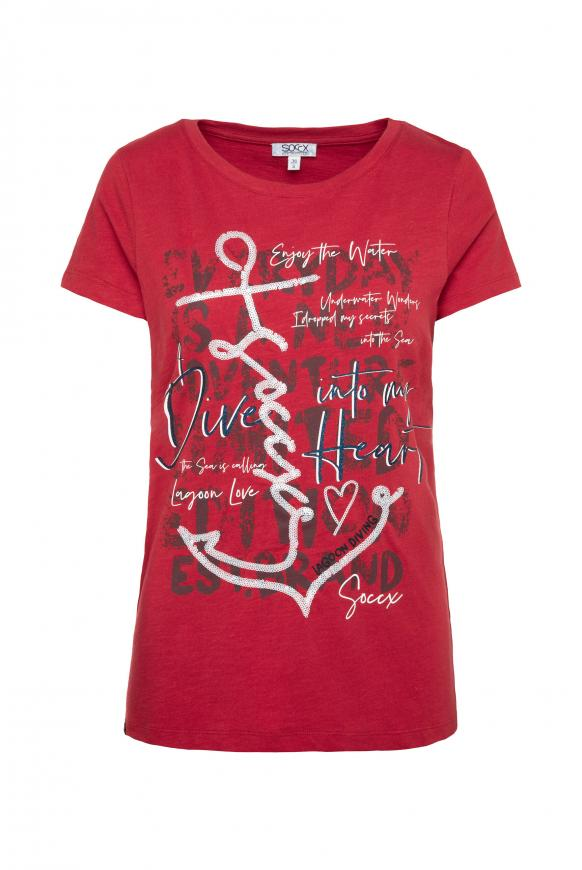 T-Shirt mit Pailletten-Artwork royal red
