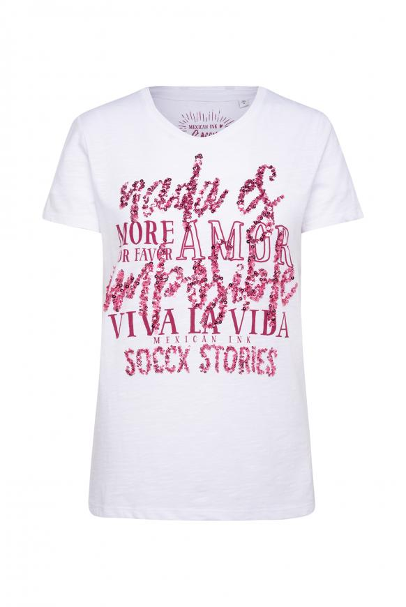 T-Shirt mit Pailletten-Schriftzug opticwhite