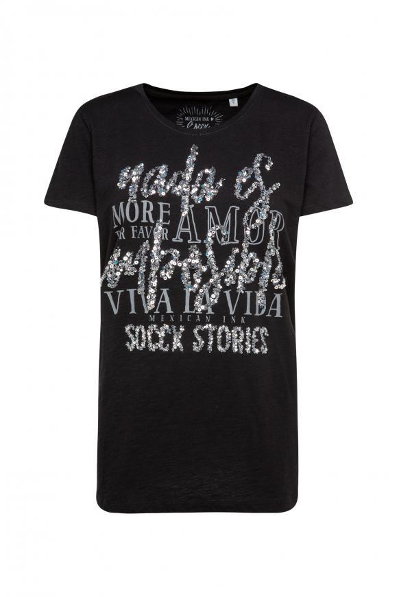 T-Shirt mit Pailletten-Schriftzug black