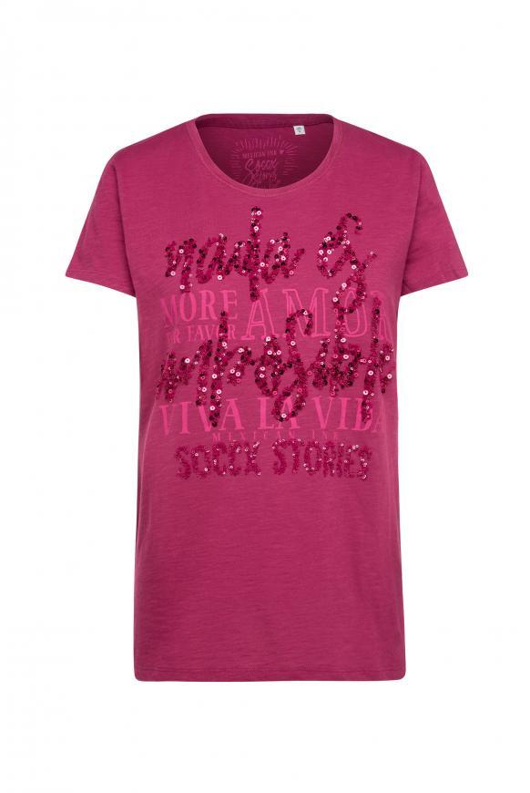 T-Shirt mit Pailletten-Schriftzug mexican wine