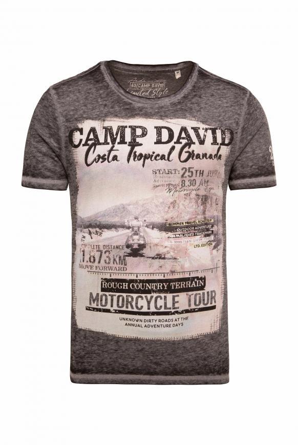 T-Shirt mit Photoprint und Ausbrennern black