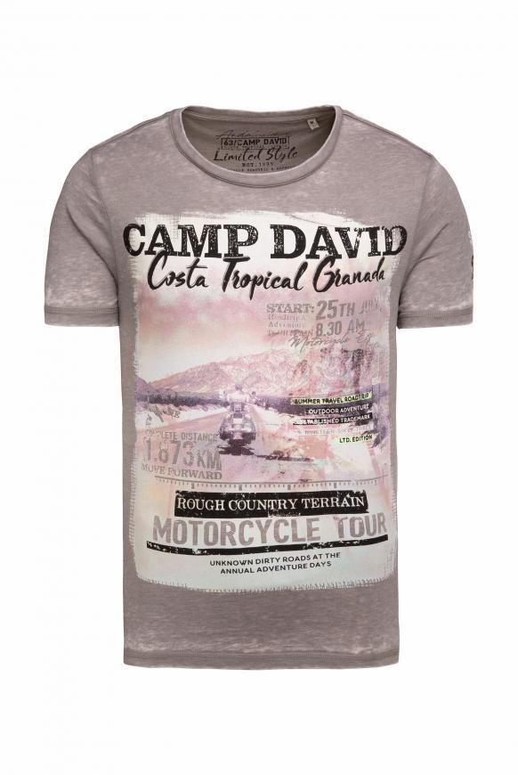 T-Shirt mit Photoprint und Ausbrennern shadow