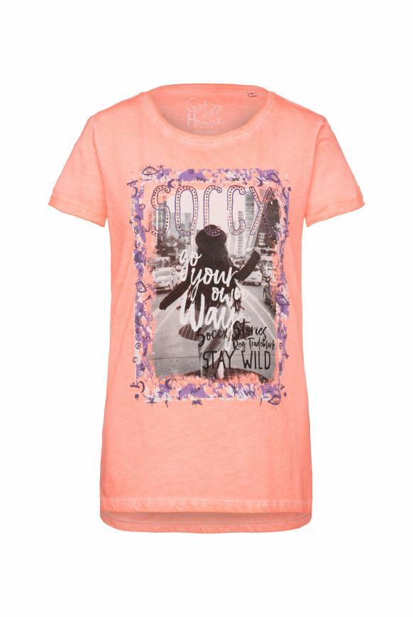 T-Shirt mit Print und Glitzersteinen orange glow