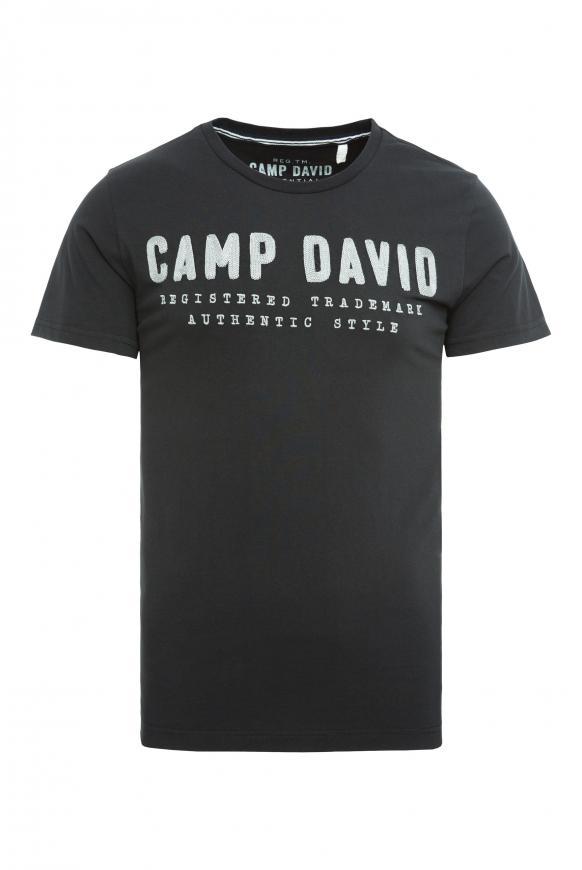 T-Shirt mit Round Neck und Logo-Stickerei black