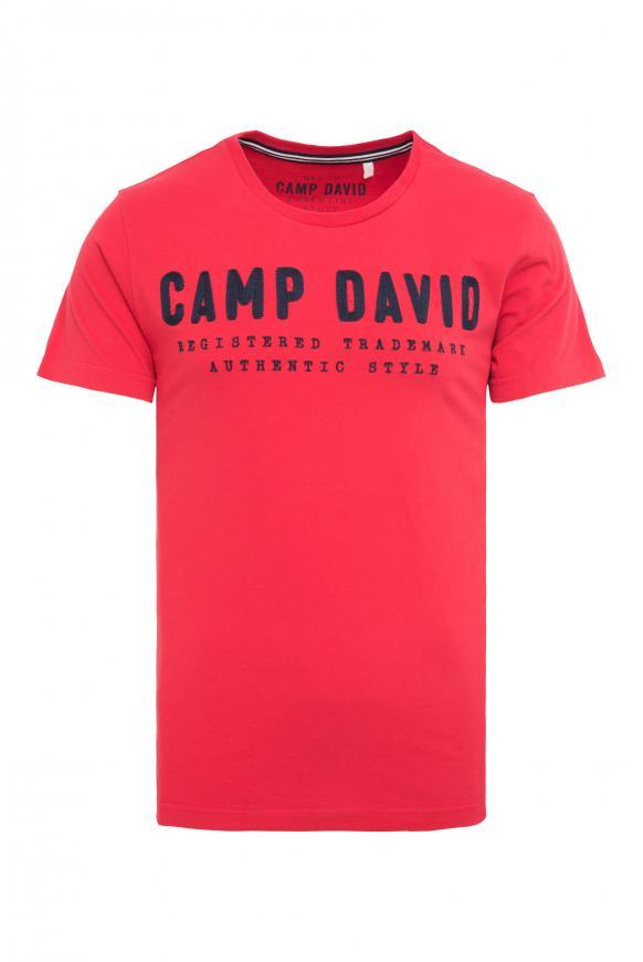 T-Shirt mit Round Neck und Logo-Stickerei royal red