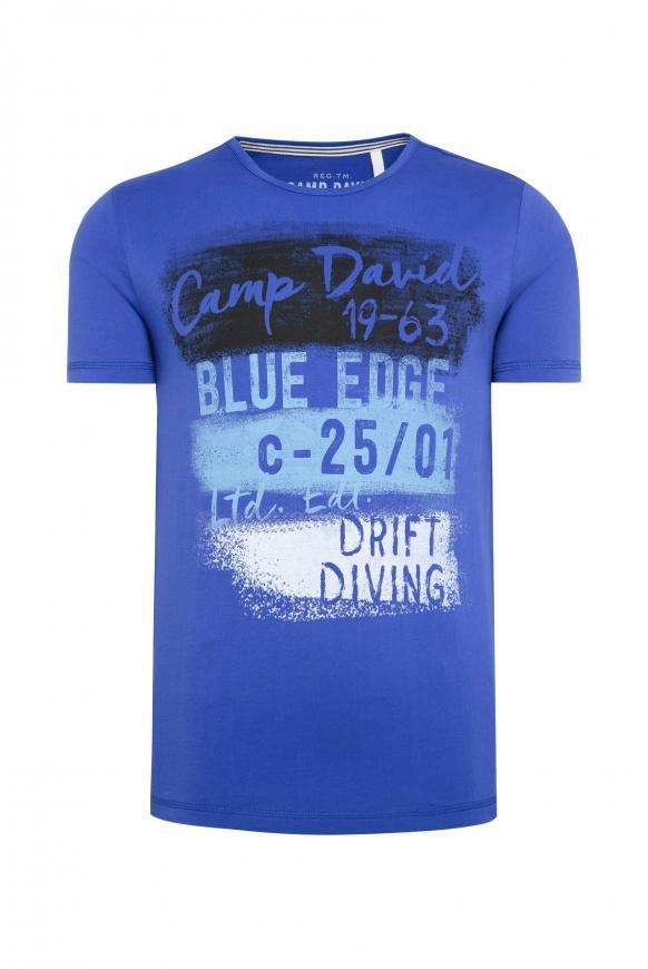 T-Shirt mit Rundhalsausschnitt und Artwork signal blue